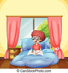 garçon, étude, jeune, chambre à coucher