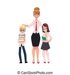 garçon, étudiants, -, livres, tenue, girl, prof