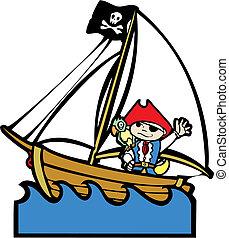 garçon, #1, bateau, pirate