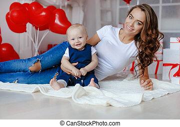 garçon, 1, photo, maman, bébé, année, beau, famille
