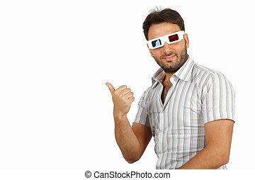 garçon, 3d lunettes