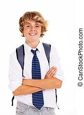 garçon adolescent, étudiant, heureux
