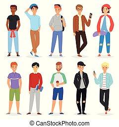 garçon adolescent, adolescent, ensemble, étudiant, ou, caractère, jeune, illustration, isolé, jeunesse, personne, vecteur, puéril, fond, blanc, petit ami, type, mâle, beau