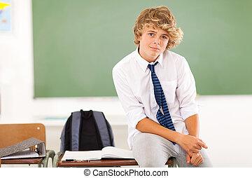 garçon adolescent, bureau, étudiant, séance