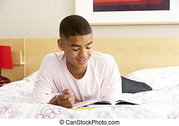 garçon, adolescent, chambre à coucher, agenda, écriture