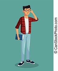garçon adolescent, cheveux, livre, noir, lunettes