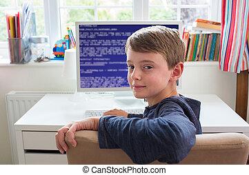 garçon, adolescent, code, écriture, informatique, chambre à coucher