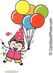 garçon, -, adolescent, graisse, excitation, vecteur, illustration, tenue, ballons, dessin animé, sauter