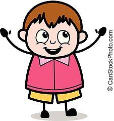 garçon, -, adolescent, graisse, vecteur, illustration, dessin animé, bonheur, sauter