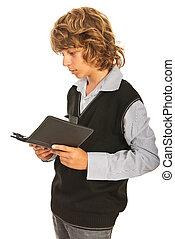 garçon adolescent, lecture, pc tablette