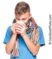 garçon adolescent, malade, grippe