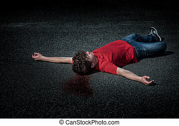 garçon adolescent, mort, asphalte