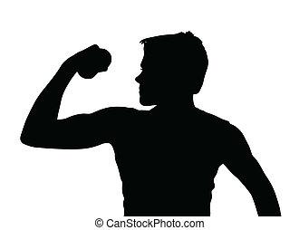 garçon adolescent, muscles, silhouette, exercisme