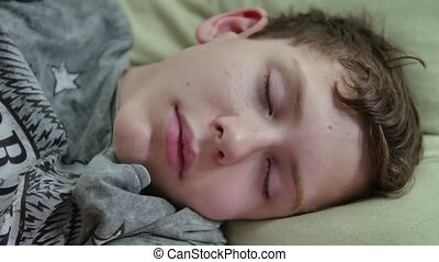garçon, adolescent, poilu, fatigué, bed., dormir, intérieur,...