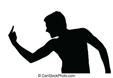 garçon adolescent, silhouette, tyran, projection, sale, geste