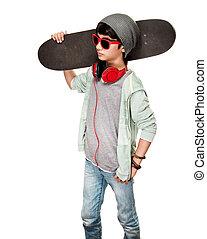 garçon adolescent, skateboard