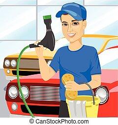 garçon adolescent, voiture, éponge, laver, savonneux, utilisation, sourire