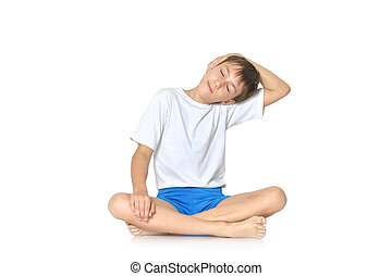 garçon, adolescent, yoga, exercisme