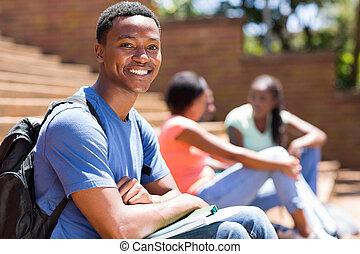 garçon, africaine, collège, portrait