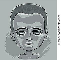 garçon, africaine, détresse, gosse, illustration