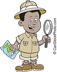 garçon, africaine, explorateur, dessin animé