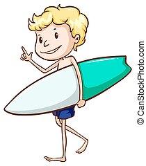 garçon, aller, plage