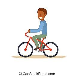 garçon, américain, équitation bicyclette, africaine