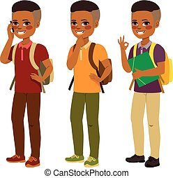 garçon, américain, étudiant, africaine