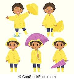 garçon américain africain, imperméable, vecteur, ensemble, jaune
