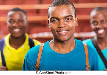 garçon, américain, collège, fond, africaine, amis