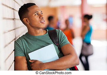 garçon, américain, collège, jeune, africaine