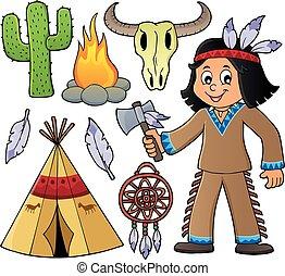 garçon, américain, objets, divers, indigène