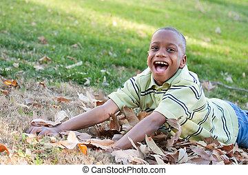 garçon, américain, parc, jeune, africaine