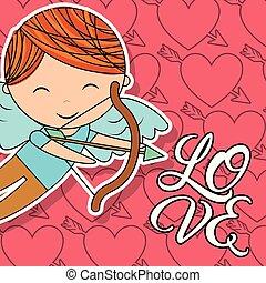 garçon, amour, cupidon, arc, flèche, carte