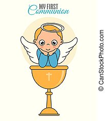 garçon, ange, boy., calice, communion, carte