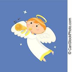 garçon, ange, voler, vecteur, trompette, sondage, jouer