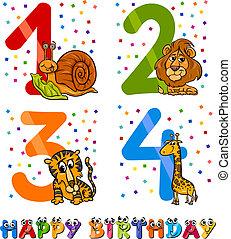 garçon, anniversaire, conception, dessin animé