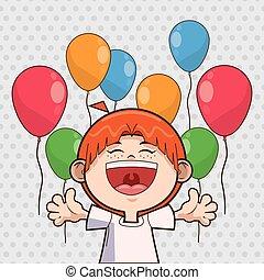 garçon, anniversaire, conception, gosse, ballons, heureux