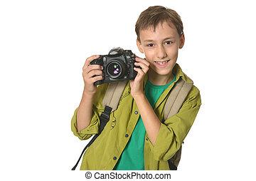 garçon, appareil photo
