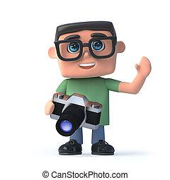 garçon, appareil photo, lunettes, 3d