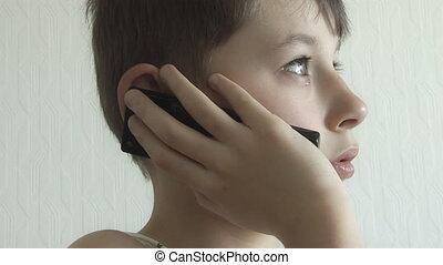 garçon, appelle, mobile, haut, téléphone, woke