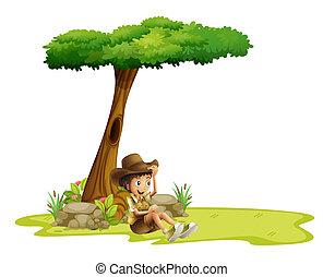 garçon, arbre, reposer, sous