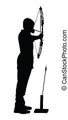 garçon, archer, arc, flèche, silhouette