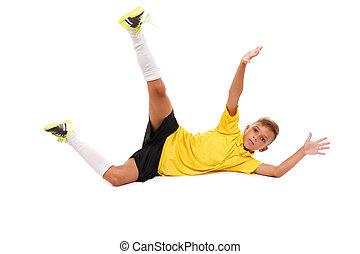 garçon, arrière-plan., isolé, concept., jeune, sports, joueur, sauter, prise, blanc, football, action, ball., gosse