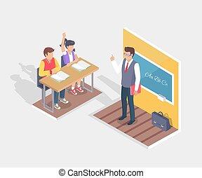 garçon, asseoir, étudiants, deux, bureau, stand, girl, prof