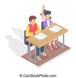 garçon, asseoir, étudiants, deux, livres, bureau, girl