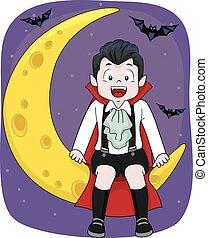 garçon, asseoir, vampire, lune, chauves-souris, gosse