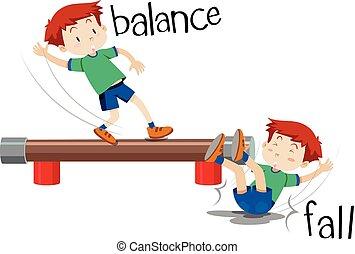 garçon, automne, équilibre, comparaison