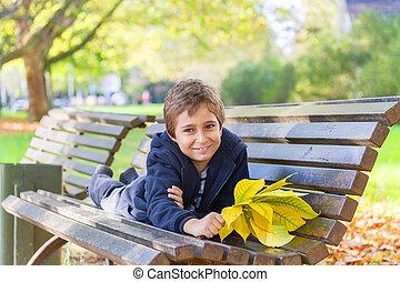 garçon, autumn., parc, européen
