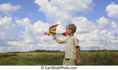 garçon, avion, jouet, champ, voler